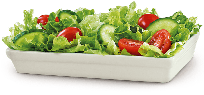 Garden Salad - lettuce, riped tomatoes, cucumber with Italian or Caesar dressing