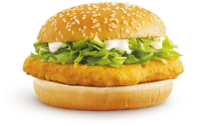 McChicken burger with fresh lettuce and creamy sauce on a sesame seed bun