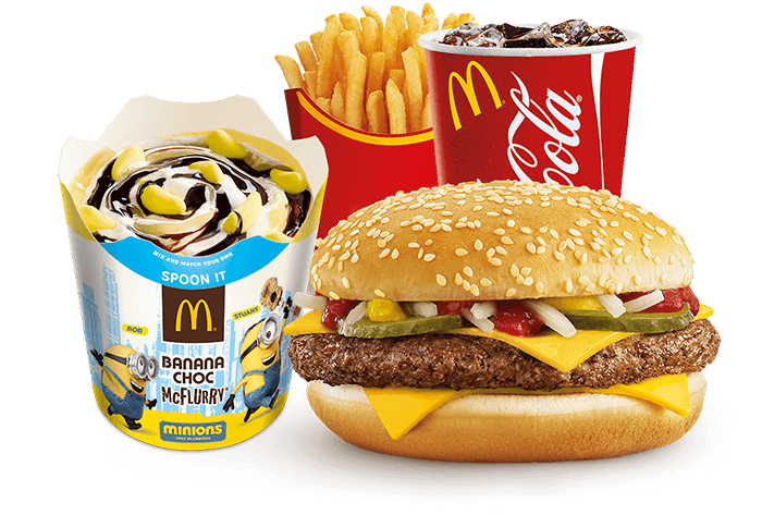 Banana Choc McFlurry   174  with Minions Quarter Pounder   174  mealQuarter Pounder Meal