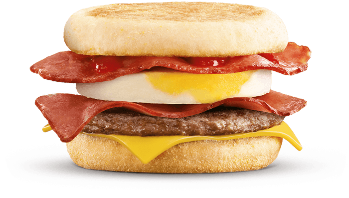 Mighty McMuffin with two rashers of bacon, cheese, egg, sausage patty inbetween English Muffin