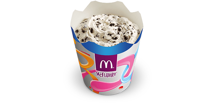 Oreo Cookie McFlurry - Creamy soft serve topped with crunchy Oreo biscuit