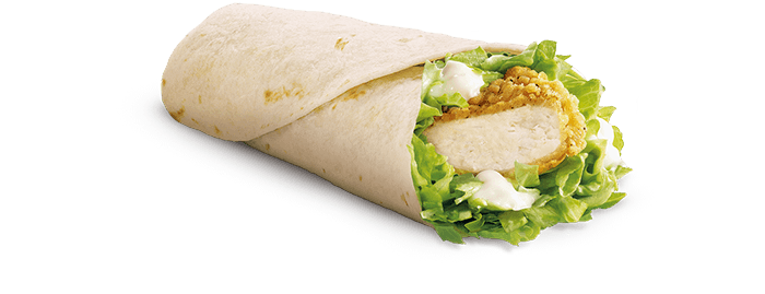 Crispy Chicken Snack Wrap - Strip of Chicken with mayonnaise and lettuce wrapped in tortilla