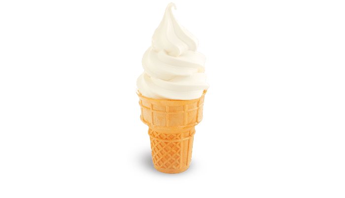 Soft Serve Cone - Fluffy serve, layered on a crispy cone