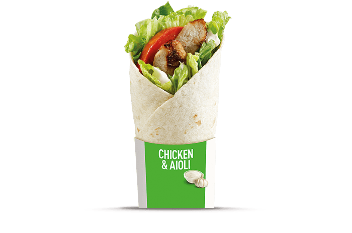 Grilled Chicken & Aioli McWrap - grilled chicken with tomatoes wrapped ...